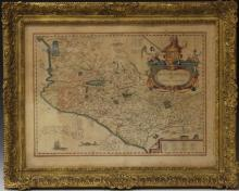 LOT OF (2) FRAMED COLORED MAPS, 19TH CENTURY