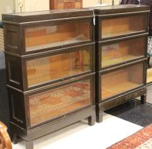 PAIR OF MACEY MAHOGANY SECTIONAL BOOKCASES