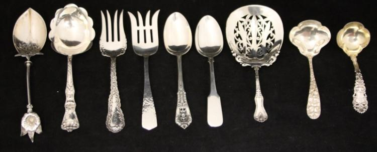 LOT OF (9) STERLING SILVER SERVING PCS.