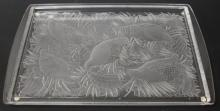 LALIQUE CRYSTAL TRAY WITH QUAIL