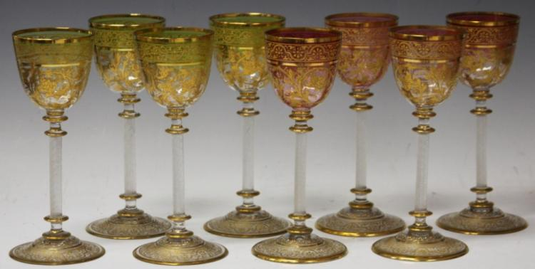 SET OF (8) VENETIAN HAND PAINTED WINE GLASSES