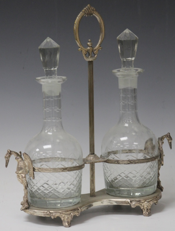 FRENCH TWO BOTTLE CRYSTAL FIGURAL DECANTER