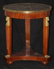 FRENCH 19TH CENTURY EMPIRE MARBLE TOP ROUND TABLE