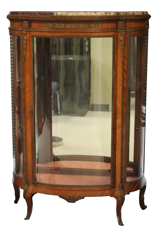FRENCH SERPENTINE GLASS AND MARBLE TOP CURIO