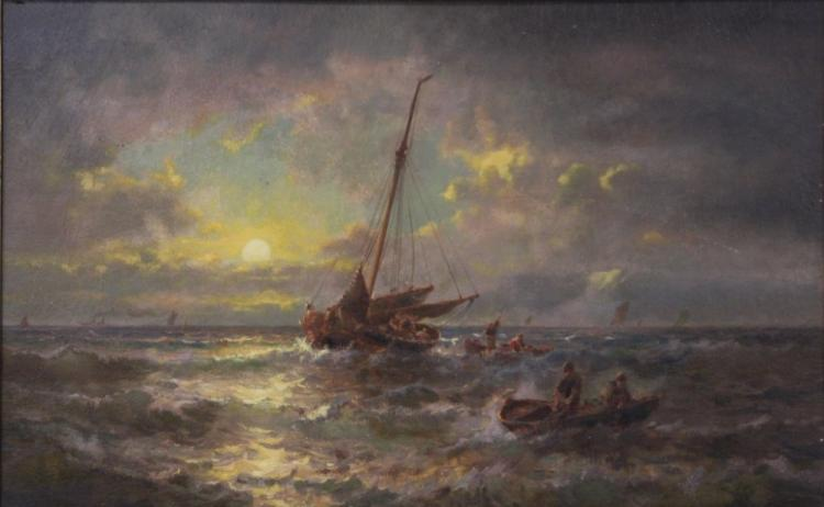 FRENCH MARINE 19TH CENTURY, OIL ON BOARD