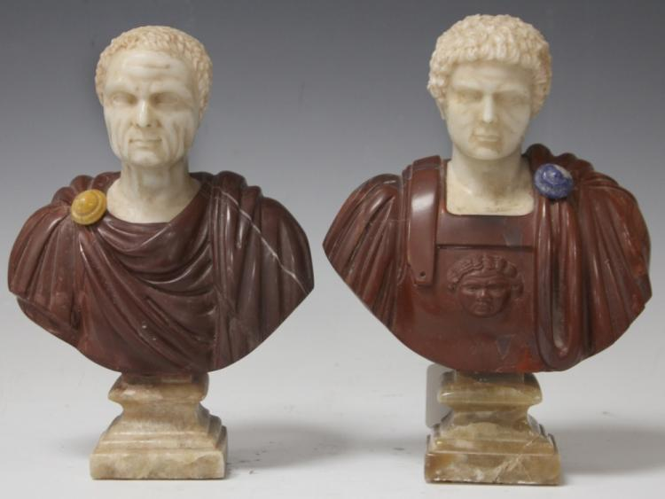PAIR OF MARBLE AND RED RHYOLITE BUSTS