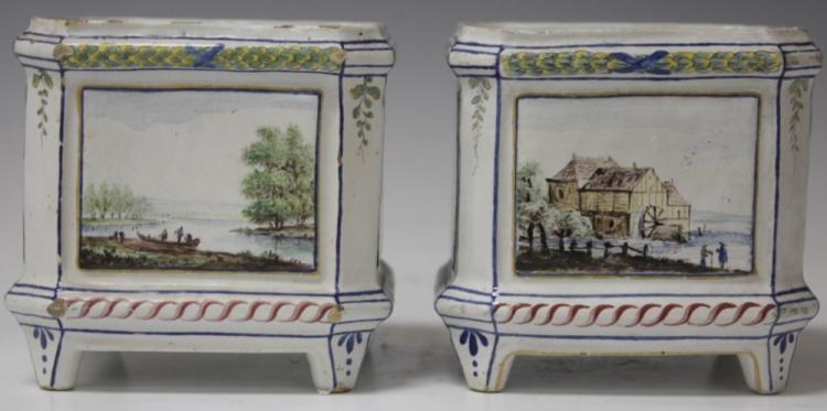 PAIR OF FRENCH FAIENCE CACHE POTS, 18TH CENTURY