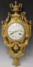 LOUIS XVI GILT BRONZE ORMOLU AND ENAMELED CLOCK
