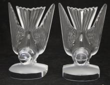 PAIR OF LALIQUE CRYSTAL BOOKENDS