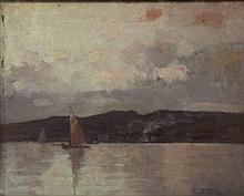 TOM ROBERTSON (1850-1947), OIL ON BOARD