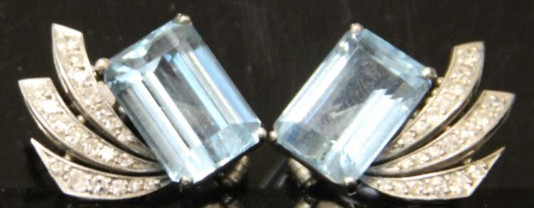 PAIR OF AQUAMARINE AND DIAMOND EARRINGS, PLATINUM