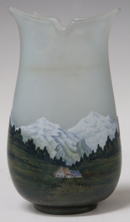 DAUM NANCY ALPINE MOUNTAIN SCENE VASE