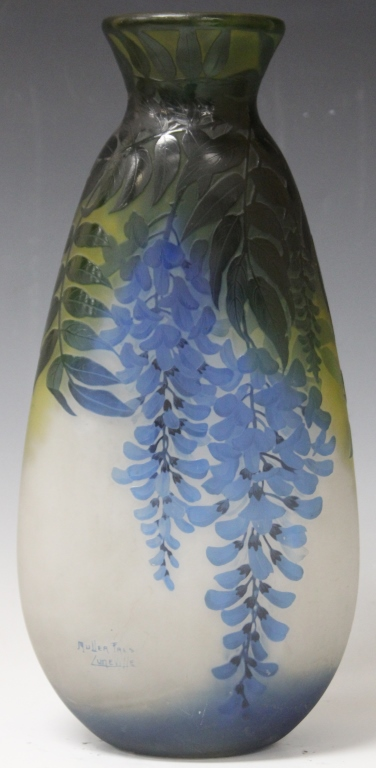 MULLER FRERES VASE WITH DRAPING WISTERIA