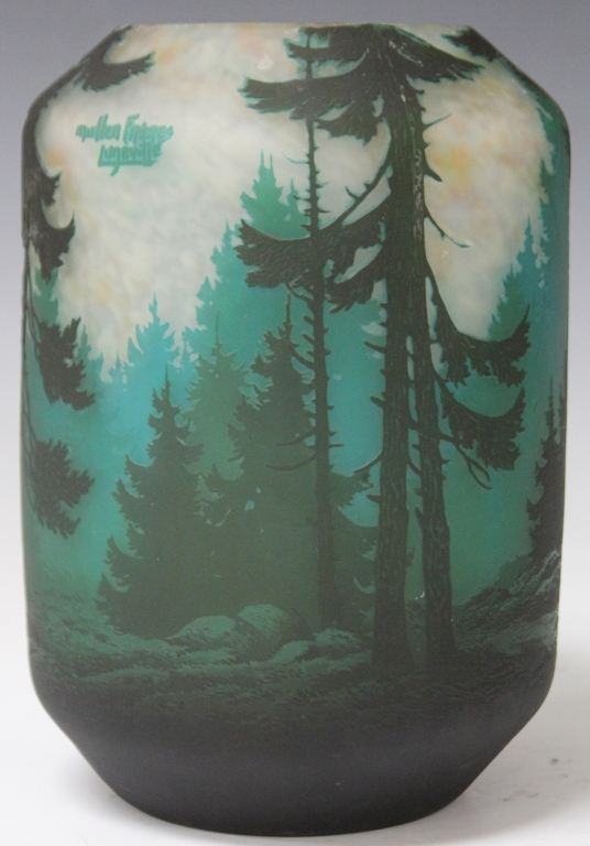 MULLER FRERES VASE WITH WOODED SCENE