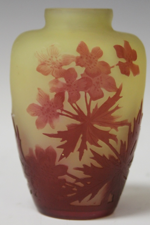 GALLE CAMEO VASE, RED ON YELLOW