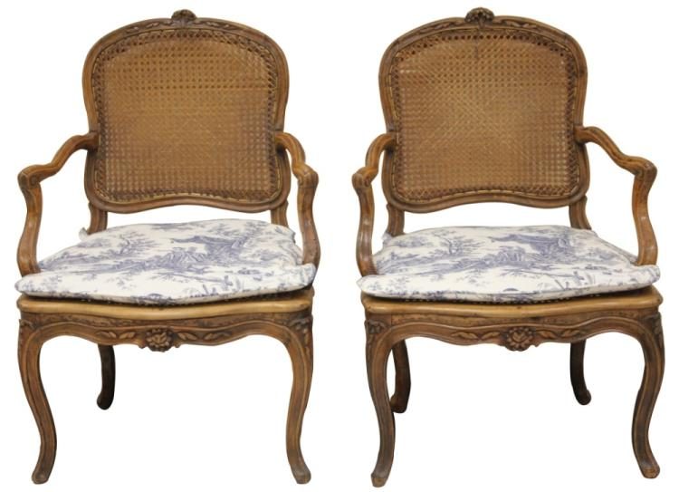 PAIR OF LOUIS XV PERIOD COUNTRY ARMCHAIRS