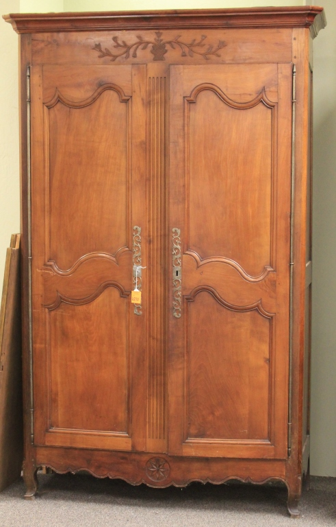 FRENCH WALNUT DOUBLE DOOR ARMOIRE, 18TH CENTURY