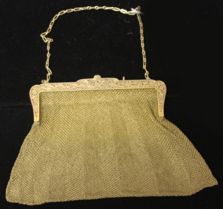 14KT VINTAGE GOLD MESH PURSE WITH SAPPHIRE