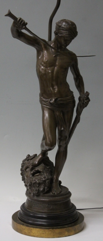 DAVID AND GOLIATH FIGURAL BRONZE LAMP