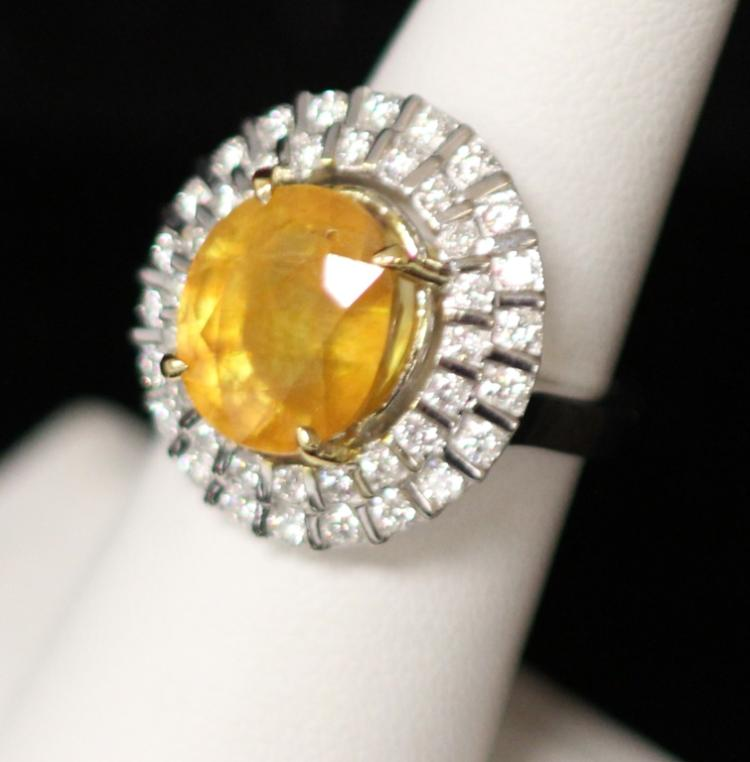 LADY'S 14KT YELLOW SAPPHIRE DIAMOND RING