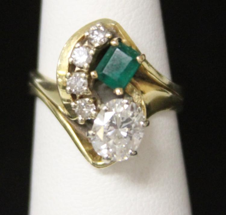 LADY'S 14KT DIAMOND AND EMERALD RING