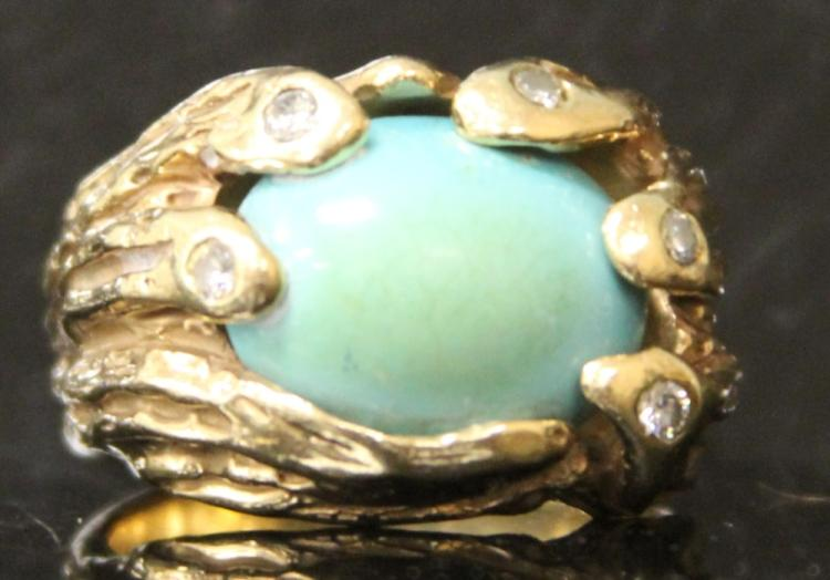 MENS 14KT PERSIAN TURQUOISE RING