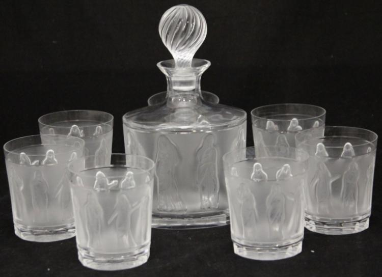 LALIQUE DECANTER AND (7) TUMBLERS