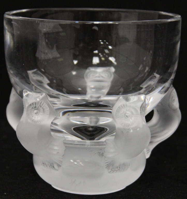 LALIQUE CRYSTAL BOWL WITH OWLS