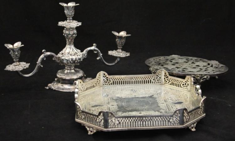 LOT OF (3) VICTORIAN SILVERPLATED TABLE ITEMS
