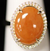 LADY'S 14KT JADE DIAMOND RING