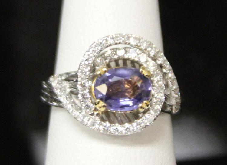 LADY'S 14KT SAPPHIRE AND DIAMOND RING