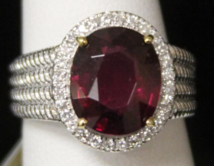 RHODALITE DIAMOND LADY'S 14KT RING