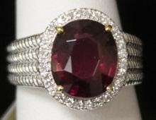 RHODALITE DIAMOND LADY'S 14KT RING