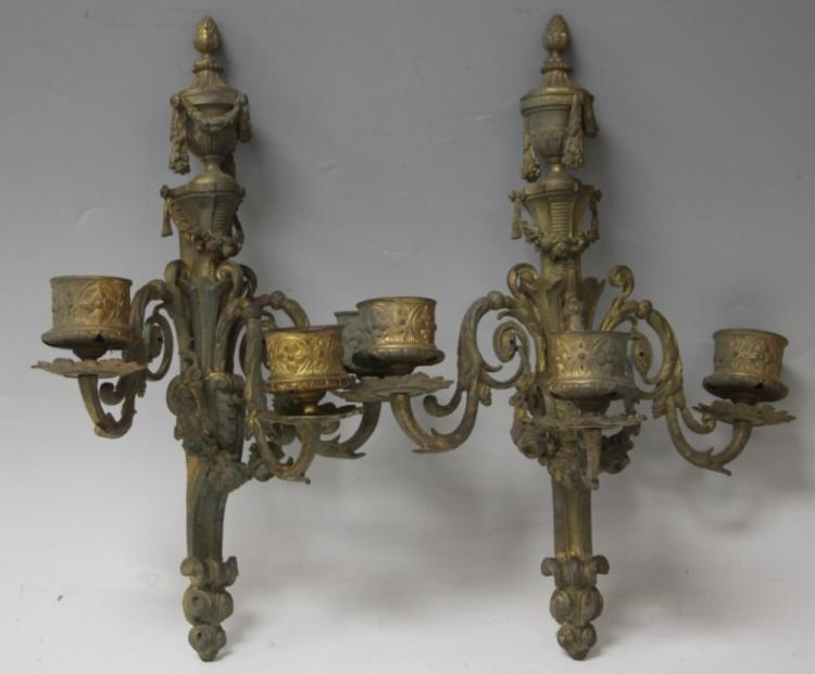 PAIR OF FRENCH CAST METAL WALL SCONCES
