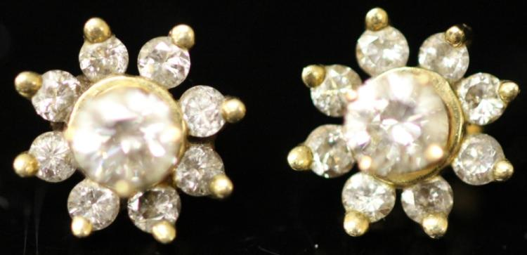 PAIR OF DIAMOND 14KT EARRINGS