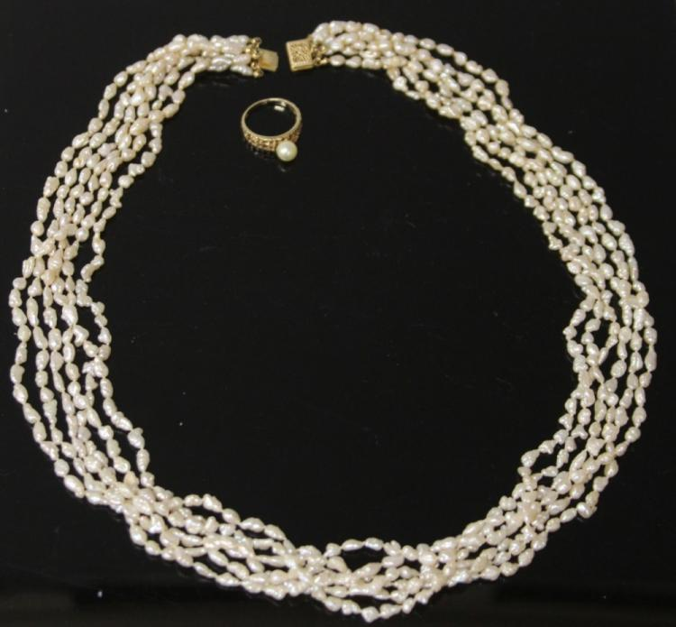 LADY'S FRESHWATER PEARL NECKLACE AND RING