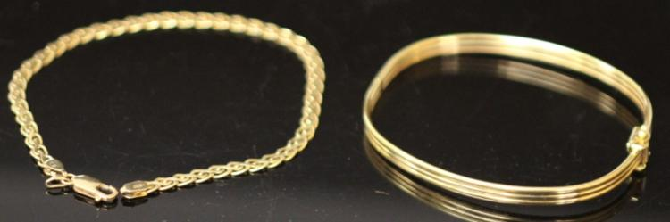 LOT OF (2) BRACELETS, 14KT- 18KT
