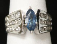 LADY'S 14KT TOPAZ AND DIAMOND  RING