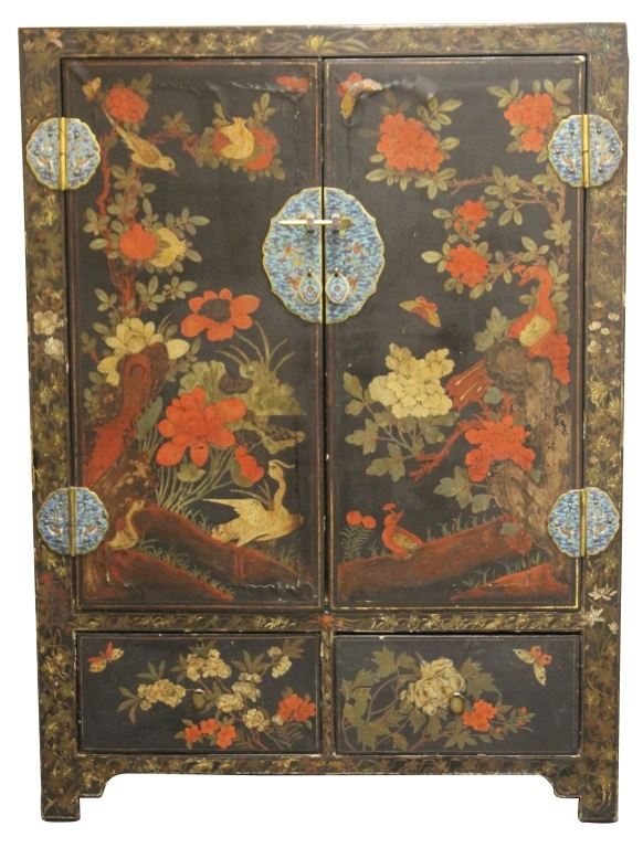 EARLY KOREAN LACQUERED CHEST, FRENCH STYLE PAINT