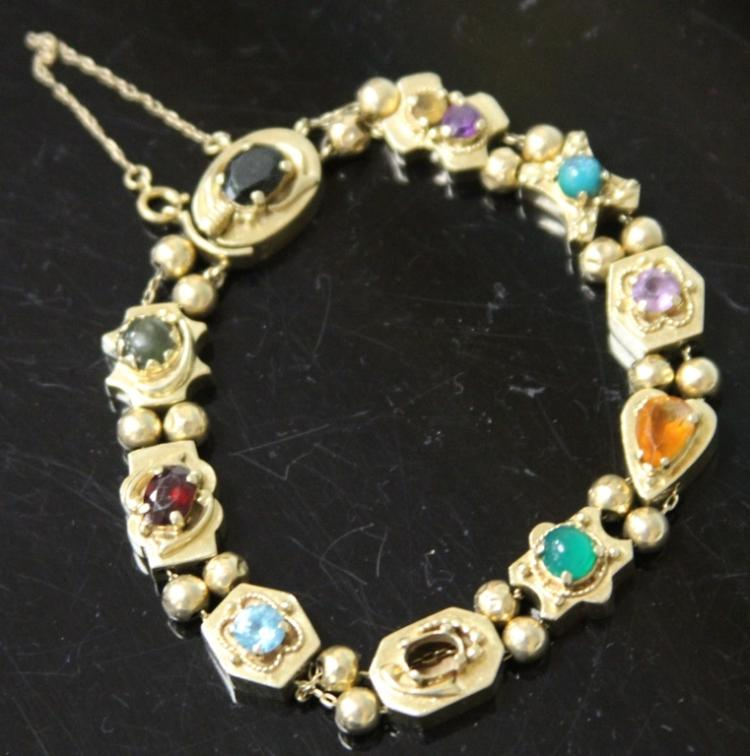 LADY'S 14KT COLORED GEM BRACELET