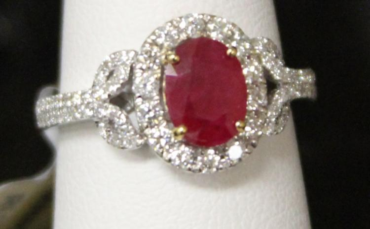 LADY'S 14KT RUBY AND DIAMOND RING