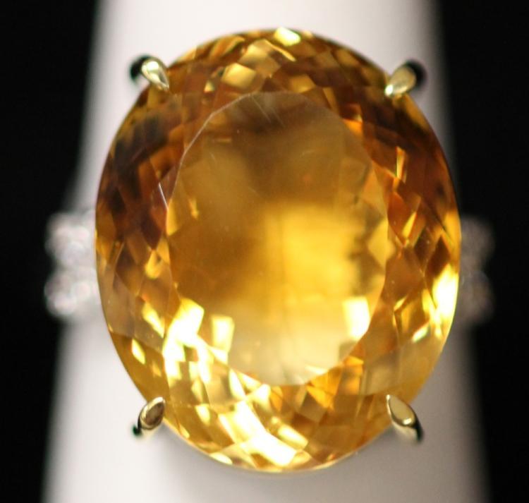 LADY'S 14KT CITRINE DIAMOND RING