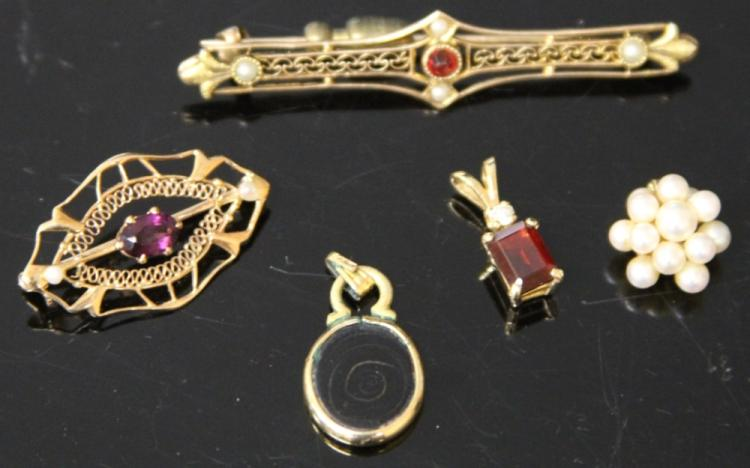 LOT OF (5) PCS. ESTATE JEWELRY, 14KT