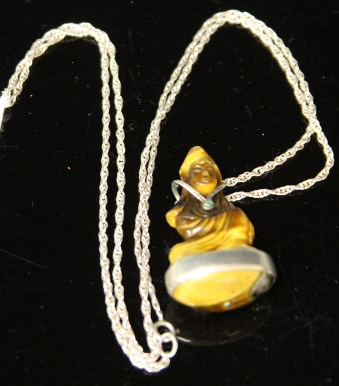 TIGER EYE QUAN YIN PENDANT WITH SILVER CHAIN