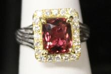 LADY'S PINK TOURMALINE DIAMOND RING