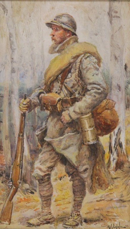 WATERCOLOR OF WWI SOLDIER