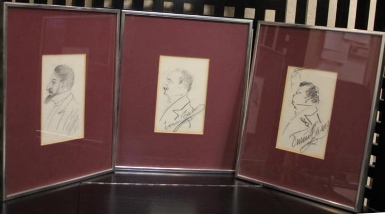 LOT OF (3) CARUSO DRAWINGS