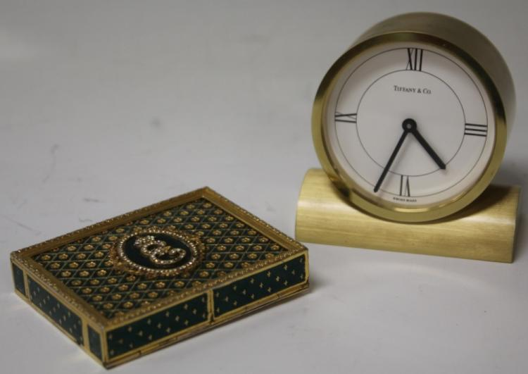 LOT OF (2)- TIFFANY DESK CLOCK, ENAMELED BOX