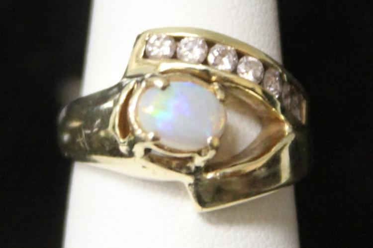 LADY'S OPAL AND DIAMOND RING