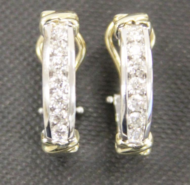 PAIR LADY'S 14KT DIAMOND EARRINGS